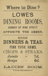 Advert For Lowe's Dining Rooms